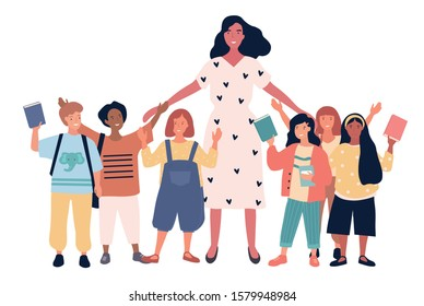 Group of joyful multiethnic schoolchildren and female teacher standing together. Pretty young woman and happy kids isolated on white background. Flat vector illustration.