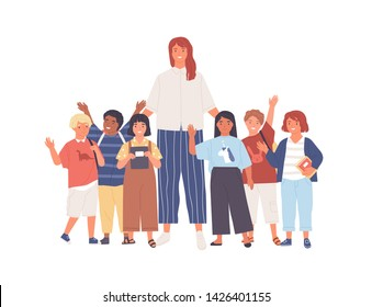 Group of joyful schoolchildren or pupils and female teacher standing together. Young woman and cute happy kids isolated on white background. Colorful vector illustration in flat cartoon style.