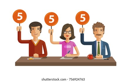 Group of judges jury. People hold up scorecards. Competition, quiz, exam concept. Vector flat illustration