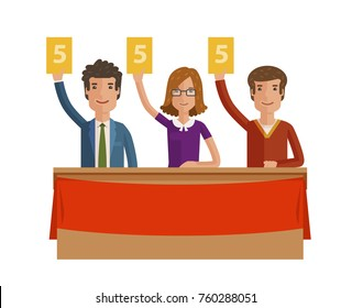 Group of judges jury. People hold up scorecards. Vector illustration