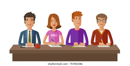 Group of judges or students. Exam, education, study concept. Vector flat illustration