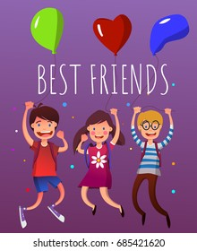 Group of jumping children with backpacks and with bright multicolor balloons. Isolated on violet background. Best friends. Happy youth vector illustration. Full editable for animation.