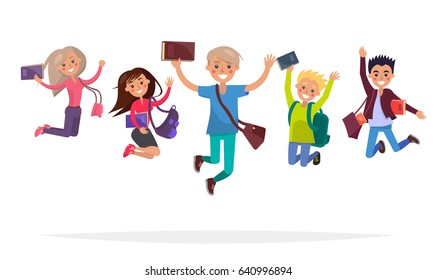 Group of jumping students with books, big backpacks and stylish brief bags isolated on white background. Reaction for successful exams passing and graduation. Happy youth vector illustration.