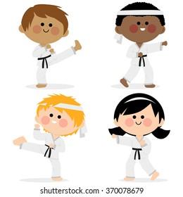 Group of karate kids wearing martial arts uniforms.