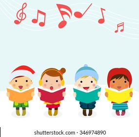 Group of kids chorus singing Christmas songs. Vector illustration
