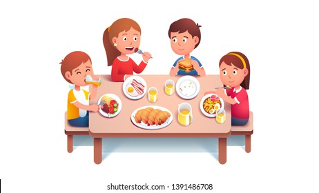 Children Eating School Lunch Cartoon Images, Stock Photos ...