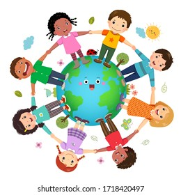 Group of kids holding hands together around the world with World Environment Day concept.
