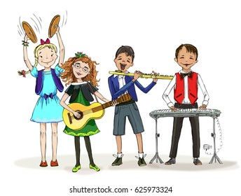 Group of kids, include the boy in the wheelchair, playing different musical instruments during the class lesson. Trumpet, piano, flute, guitar. Educational concept