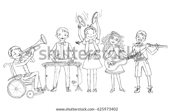 Group Kids Include Boy Wheelchair Playing Stock Vector (Royalty Free