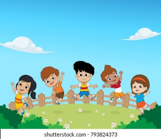 Group of kids jumping in the air together.vector and illustration.