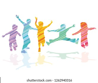Group of kids are jumping and being active, illustration