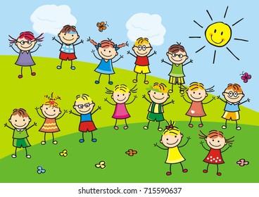 Group of kids, vector illustration