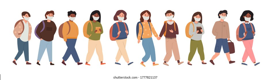 A group of kids walking together wearing face mask. Collection of children, pupils, students going to elementary middle school after pandemia. Kids going back to school isolated on white illustration