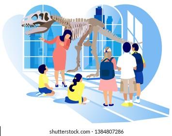 Group of Kids Watch Prehistoric Predator Tyrannosaurus Rex Dinosaur Skeleton at Archeology Museum Excursion with Teacher. School or Kindergarten Students on Filed Trip Cartoon Flat Vector Illustration