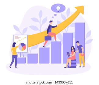 Group leader climbs up the career ladder or study. People on the team or students reading book, make diagram projects, learning. Business growth banner. Startup poster. Creative vector illustration