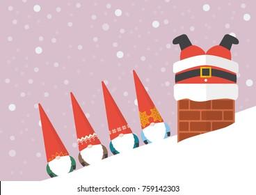 Group of Little Santa looking at Big santa stuck in chimney. greeting card