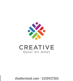 Group Logo Colorful Design Template Vector. Teamwork Logo Icon. Community Logo Template Vector .