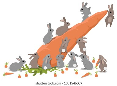 A group of lucky rabbits climbing over their giant carrot jackpot