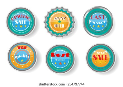Group of luxury, isolated stickers with text