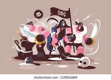 Group of mad pirates with bombs and swords weapon. Team buccaneers cartoon characters. Flat. Vector illustration.
