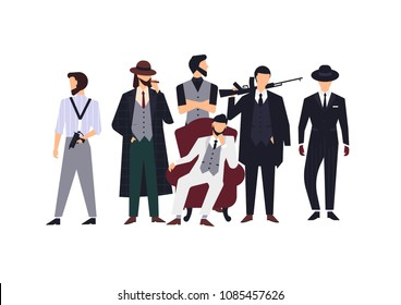 Group of mafia members or mafiosi dressed in elegant retro clothes or formal suits and holding fire guns. Flat male cartoon characters isolated on white background. Colorful vector illustration