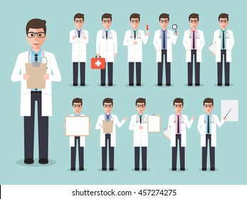 Group of male doctors, medical staff. Flat design people characters.
