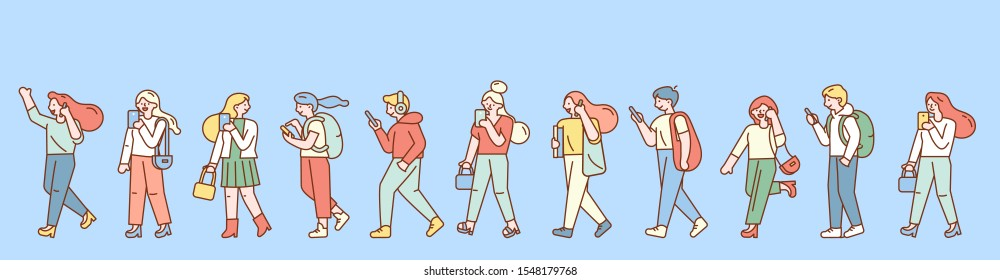 Group of male and female cartoon characters walking with mobile phones. Horizontal banner. Young men and women holding smartphones, talking. Modern city people.Flat design line style minimal vector