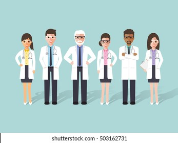 Group of male and female doctors, medical staff. Flat design people characters.
