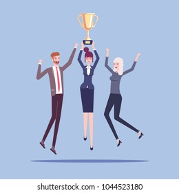 Group of male and female office workers or businessmen celebrating a victory and jump with a golden cup in their hands vector flat illustration. Award for teamwork, successful business team.