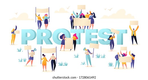 Group of male and female protesters, activists. Flat vector illustration with crowd of protesting people holding banners and placards. Men and women characters on political meeting, parade or rally.