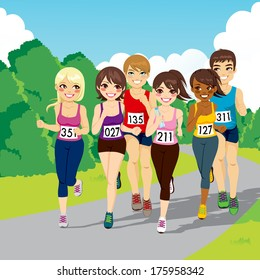 Group of male and female runners on a beautiful park running a marathon competition