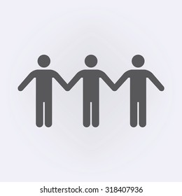 Group of man holding a hands icon . Vector illustration