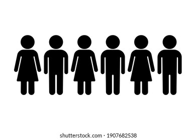 Group of man and woman. Six person standing in a row. Group of people vector illustration