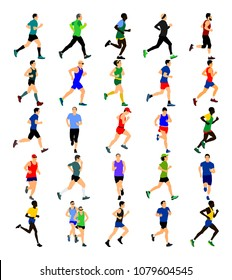 Group of marathon racers running. Marathon people vector illustration. Healthy lifestyle women and man. Traditional sport race.  Urban runners on the street. Team building concept.