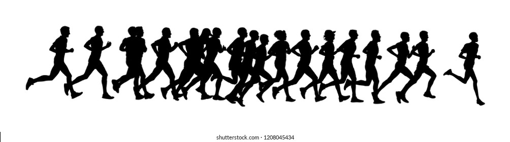 Group of marathon racers running. Marathon people vector silhouette illustration. Healthy lifestyle women and man. Traditional sport race. Urban runners on the street. Team building concept.