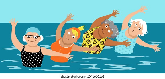 Group of mature women doing water aerobic exercises, EPS 8 vector illustration