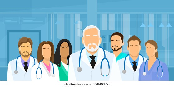 Group Medial Doctors Team Hospital Flat Vector Illustration