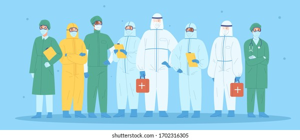 Group of medical workers in personal protective equipment. Physicians, nurses, paramedics, surgeons in workwear. Hospital team standing together wearing uniform or protection suit. Vector illustration