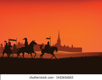group of medieval knight guards riding horses in the field with castle city silhouette in the background - vector middle ages scene