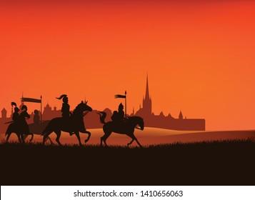 Gruppe mittelalterlicher Ritter, die Pferde auf dem Feld mit Schlosssilhouette im Hintergrund reiten - Vektorillustration Mittelalter Szene