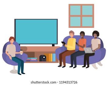 group of men using technology in the livingroom