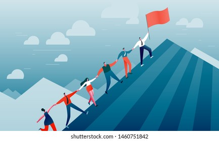 Group of men and women climb the mountain. The metaphor of success in business, career, teamwork, progress, leadership, cooperation. Flat vector illustration of EPS10