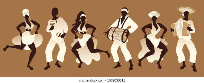 Group of men and women dancing and playing latin or afro american music