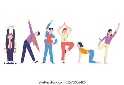 a group of men and women doing stretching movements to flex stiff muscles and refresh the mind, men and women pose to flex the body for flexibility and balance
