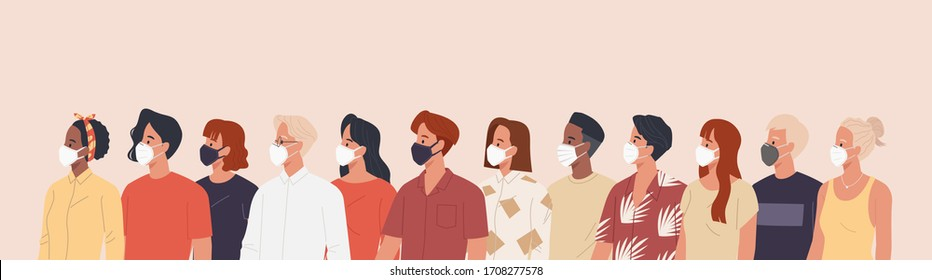 Group of men and women wearing medical masks to prevent disease, flu, air pollution, contaminated air, world pollution. Vector illustration in a flat style