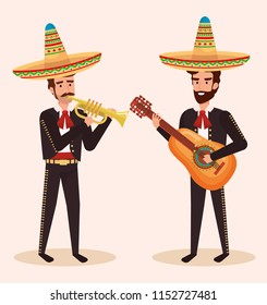 group mexican mariachis with instruments