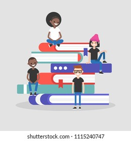 A group of millennials seating on the pile of books. Library concept. Knowledge. Flat editable vector illustration, clip art