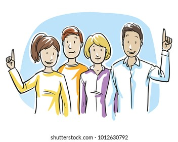 Group of mixed people, some raising hands, concept for voting, volunteering, election. Hand drawn cartoon sketch vector illustration, whiteboard marker style coloring.