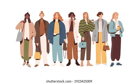 Group of modern stylish women and girls in fashion clothes standing together. Fashionable spring or fall outfits. Street style models. Colored flat vector illustration isolated on white background