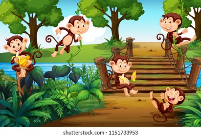 A group of monkey  at the park illustration